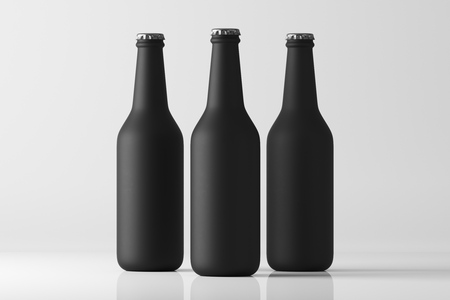 Three black frosted bottles on white background. Mock up. 3d rendering