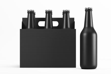 Glass matte black bottles in cardboard box on white background with reflection. Mock up. 3d rendering