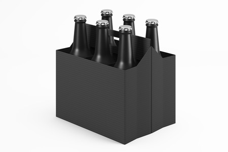 Cardboard box filled with black frosted glass bottles for drinks on a light background. Side view. Mock up. 3d rendering