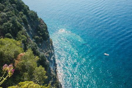 Top view of the sea surface and rock. Background with a seascape. All shades of turquoise sea water. Stock fotó