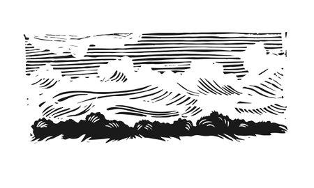 Linocut landscape. Illustration of nature. Clouds linocut. Black and white illustration of a cloud.