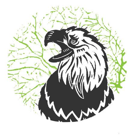 Illustration of an eagle. Eagle vector illustration. Linocut eagle.