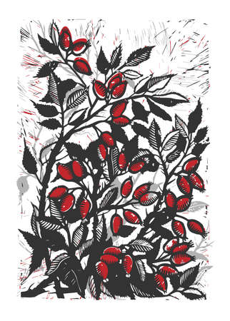 Vector mage of rose hips hand drawing. Linocut rosehip. Picture of a dog rose. Linocut red dog rose.