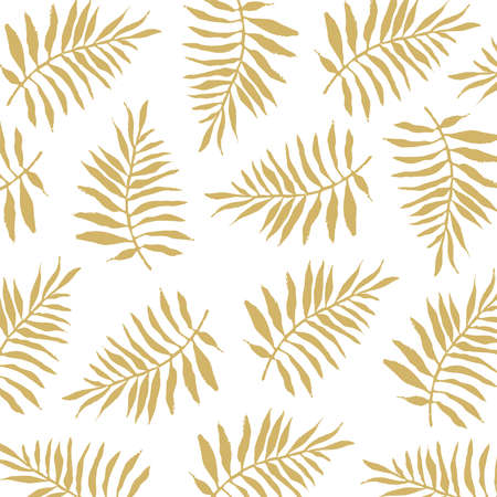Vector fern pattern. Square vector pattern of brown ferns on a white background.