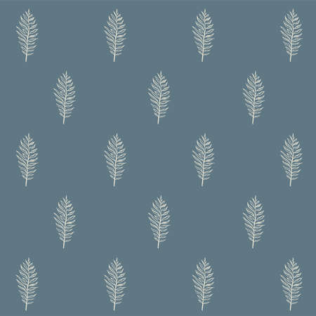 Vector white fern pattern. Vector pattern of white ferns on a blue background.