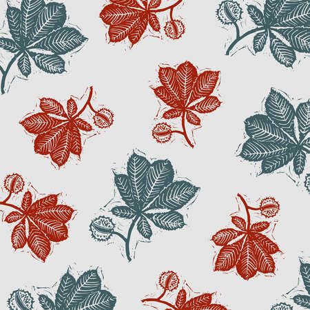 Vector background of chestnut with red and green leaves. Chestnut leaves engraving background. Linocut vector chestnut.