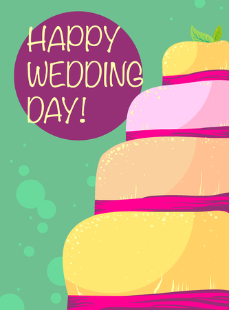 pink ribbon: Vector design of wedding card with yellow cake in pink ribbon on green background