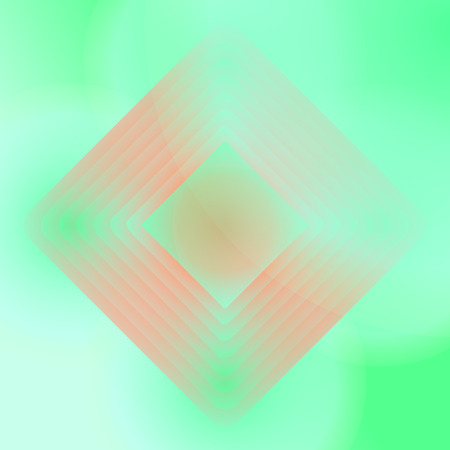 centered: Vector orange and green geometric background. Wallpaper with centered rhombs. Package design. Poster, placard, leaflet backdrop. Packaging design. Illustration