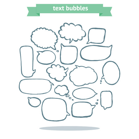 Collection of message balloons on white background. Vector set of hand drawn text bubbles. Illusztráció