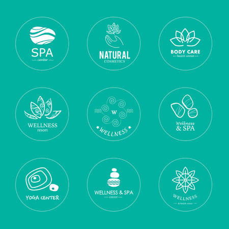 Set of vector logo elements. Wellness, yoga, spa, health and cosmetics emblem collection.