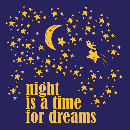 Cute romantic poster with lettering, fish and stars. Lovely card template. Ilustrace