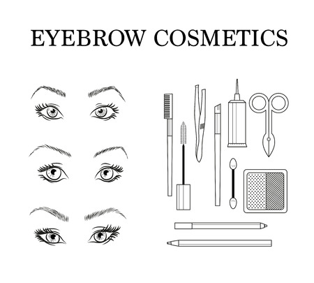 Stylish eyebrow make up collection. Vector guide. Ilustrace
