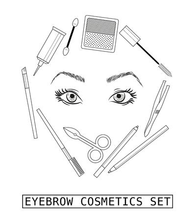 eyebrow: Stylish eyebrow make up collection. Vector guide. Illustration