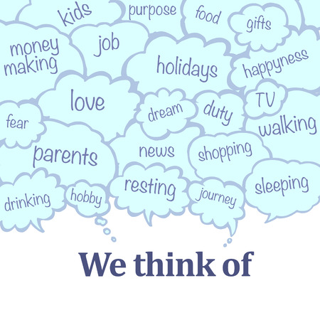 says: Collection of message balloons on white background. Vector set of hand drawn text bubbles. Illustration