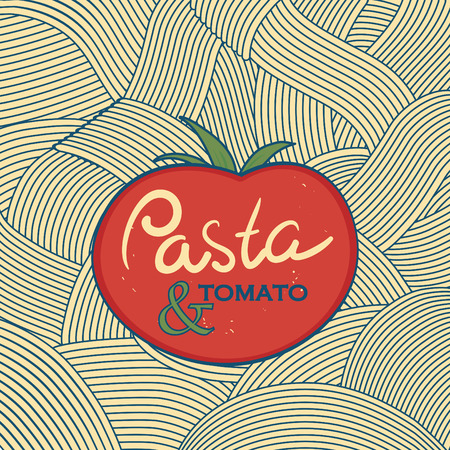 italian pasta: Vector flat pasta background template. Poster elements design. Italian food theme.