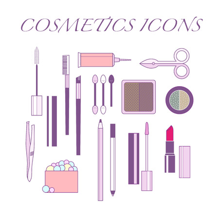 Vector cosmetics icons set. Eyebrow cosmetics and make up. Vector make up illustration.