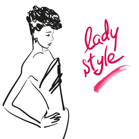 stylish women: Vector hand drawn girl portrait on white background. Stylish women silhouette. Beauty and fashion lettering. Good for print design, fashion magazine article or any advertisement. Illustration