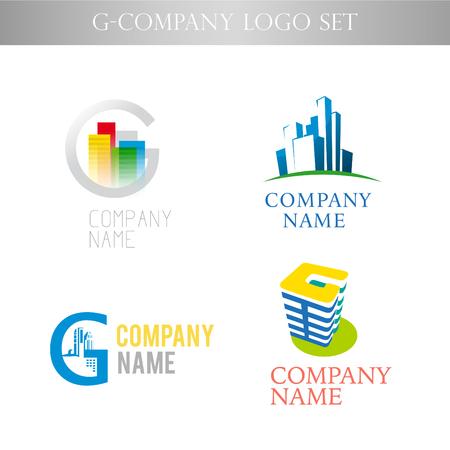 Vector stijlvolle logo collectie voor stedelijke gebouw zetel van de vennootschap op een witte achtergrond. Bedrijf succesvol bedrijf insigne template. Urban pictogrammen.