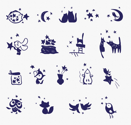 canvas print: Collection of vector stamp samples. Set of stars, birds, animals on canvas background. Hand made print for textile. Illustration