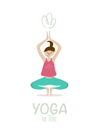 therapy group: Yoga asana vector illustration. Set of vector girl yoga asana on white background.