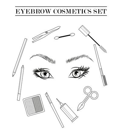 women face stare: Stylish eyebrow make up collection. Vector guide. Illustration