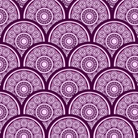 small size: Vector abstract background with light pink and dark rose rounds of different sizes with purple strokes. Rounded detailed ornament. Package design, poster, banner, leaflet backdrop.