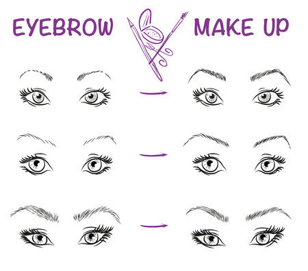 draw: Vector hand drawn illustration of eyebrow line make up. Eyebrow style. Vector fashion sketch of girl face. Stylish make up.