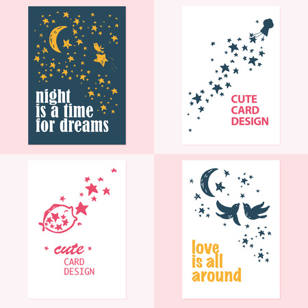 made by hand: Vector set of beautiful cards templates. Text message, lettering. Congratulations, best reguards, post card design. Illustration
