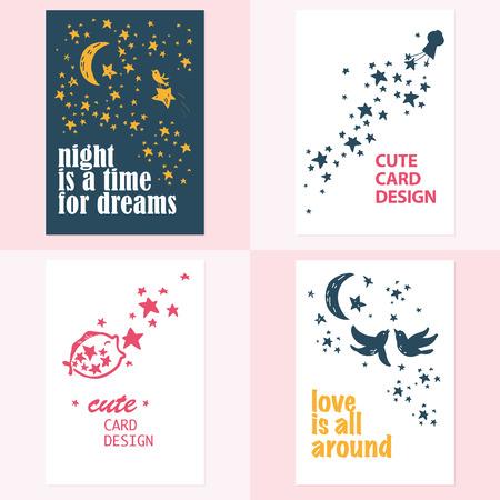 Vector set of beautiful cards templates. Text message, lettering. Congratulations, best reguards, post card design. Ilustração
