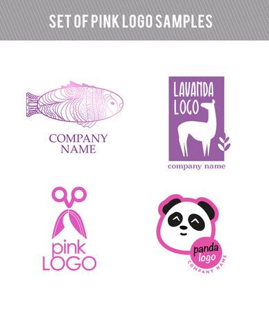 Vector animal Conjunto de la insignia plana. Colección de la insignia de color rosa aisladas sobre fondo blanco. Belleza y la plantilla de la empresa insignia de la industria de la moda. Foto de archivo - 45992385