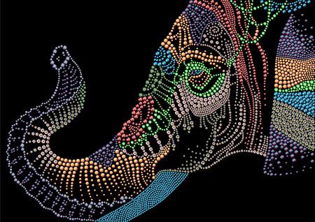 손을 검은 배경에 rhinestones로 만든 코끼리 머리의 상세한 다채로운 초상화를했다. 다이아몬드와 크리스탈 화려한 그림입니다.