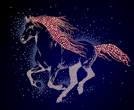 Hand made portrait of running horse with long tail and mane. Colorful rhinestone pattern. Diamond and crystal picture of wild animal on black backdrop. Good for print design, advertisement, packaging, book or journal illustration. Stock Photo