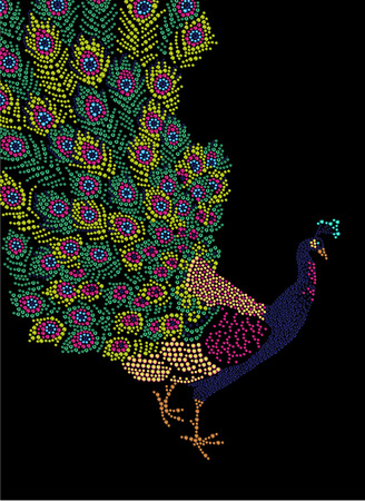 rhinestone: Hand made portrait of peacock with beautiful big tail. Colorful rhinestone pattern. Diamond and crystal picture of bird on black backdrop. Good for print design, advertisement, packaging, book or magazine illustration. Stock Photo