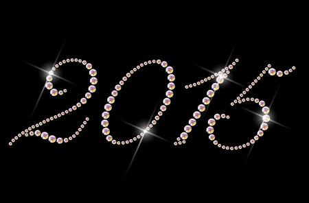 rhinestone: Hand made colorful rhinestone pattern of numbers. Diamond and crystal picture on black backdrop. Good for print design, advertisement, packaging. Stock Photo