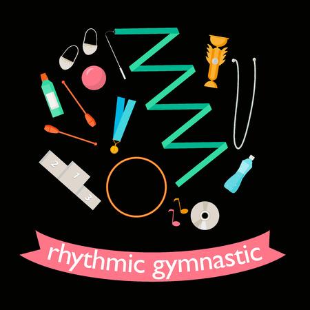 Vector set van ritmische gymnastiek-elementen. Sportborden en pictogramontwerp. Vector ritmische gymnastiekattributen.