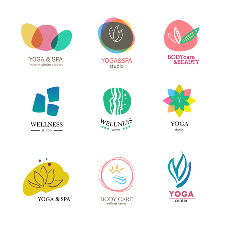 Set of vector icon elements. Wellness, yoga, spa, health and cosmetics emblem collection.