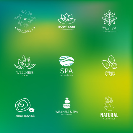 spa flower: Set of vector icon elements. Wellness, yoga, spa, health and cosmetics emblem collection.