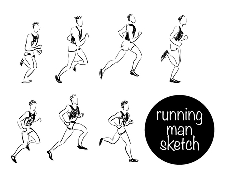human hand: Vector sketch of running man on white background. Man black stroke sketch set. Healthy lifestyle. Illustration