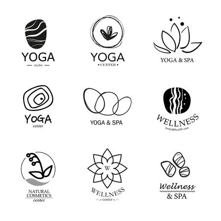 벡터 아이콘 요소의 집합입니다. 웰빙, 요가, 스파, 건강, 화장품 컬렉션 엠블럼.