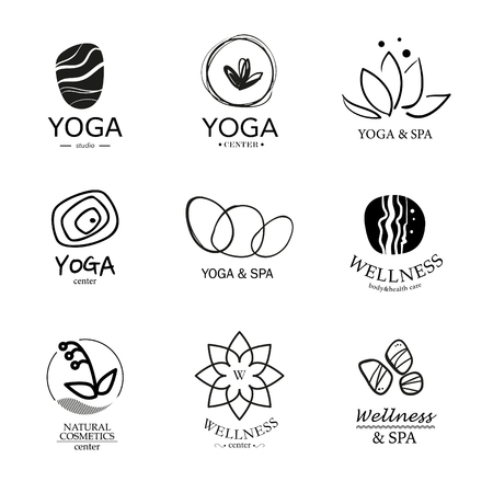 lotus leaf: Set of vector icon elements. Wellness, yoga, spa, health and cosmetics emblem collection.