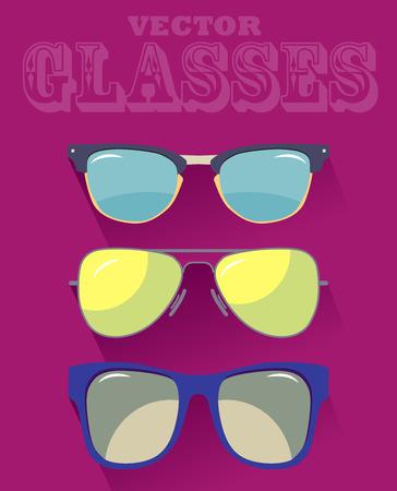 wayfarer: Vector set of colorful modern sunglasses. Young stylish acessory. Modern illustration. Illustration