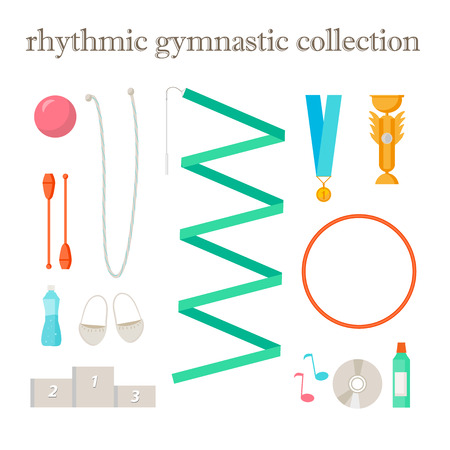 rhythmic gymnastic: Vector conjunto de elementos de gimnasia r�tmica. Muestras del deporte y el dise�o de iconos. Vector r�tmicos atributos de gimnasia. Vectores