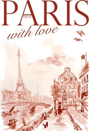 Vector postcard Paris template with text space. Memory card design, love theme, Tour d'Eiffel.
