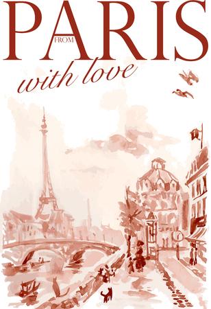 towers: Vector postcard Paris template with text space. Memory card design, love theme, Tour dEiffel.