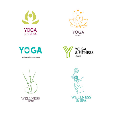 massage symbol: Set of vector icon elements. Wellness, yoga, spa, health and cosmetics emblem collection.