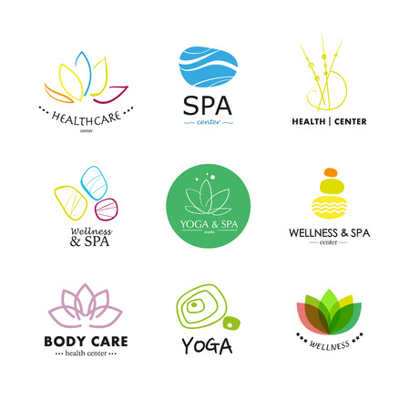 health resort: Set of vector icon elements. Wellness, yoga, spa, health and cosmetics emblem collection.