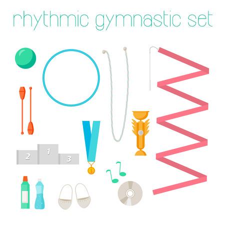 Vector set of rhythmic gymnastic elements. Sport signs and icon design. Vector rhythmic gymnastic attributes.