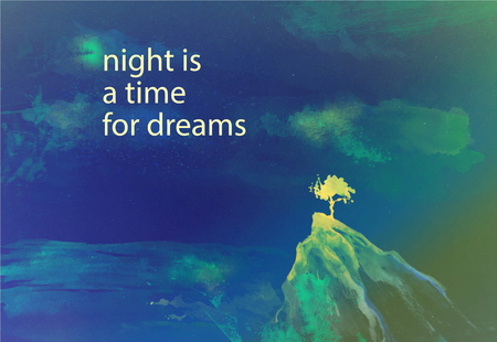 atmosphere: Vector watercolor illustration of seascape with alone tree standing on the rock across the sea under the stars in night sky with text place. Good for postcard memory design or book illustration. Stock Photo