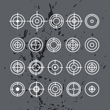 aims: Vector collection of target flat icons. Crosshairs group. Aims isolated.