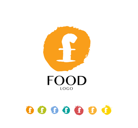 food industry: Abstract vector logo design with hand drawn letters. Hand written font. Good for restaurant, food industry, business or any  company insignia. Also may be used for print design.